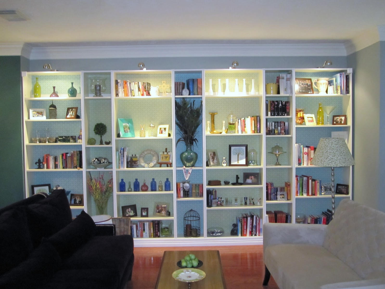 Ikea hack built in bookshelves tutorial the lazy owl for Living room built ins ideas